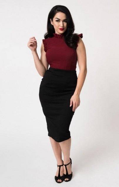 47f02a9b5a Grab the wheel and drive their hearts to the edge, dolls! Give your  silhouette the advantage with a breathtaking black wiggle skirt, fresh from  Unique ...